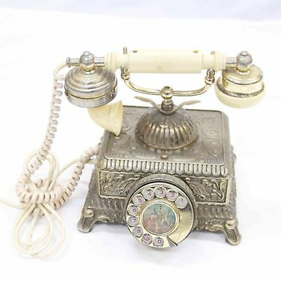 Vintage Ornate Gold Victorian Rotary Telephone French-style cradle#454