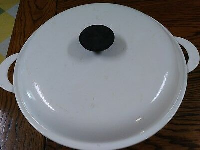 Le Creuset #30 White Enameled Cast Iron  Lidded Pot Vintage Antique