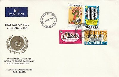 P 1048 Nigeria Anti racism March 1971 First Day Cover Lagos cds. Contents.