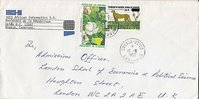 W 1957 Doula Deido August 1990 cover UK. 2 stamps, leopard stamp overprinted