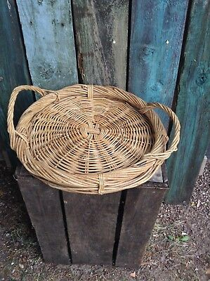 Vintage Round Basket Tray Fruit Bread Cakes Natural Wood French Country