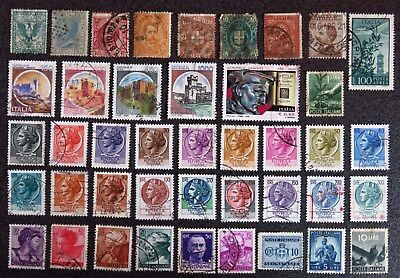 Italy Stamp Collection 42 Different Used Stamps All Unhinged