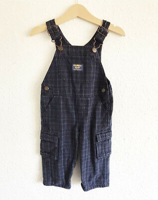 VTG Baby Kids Osh Kosh 90s Cotton Classic Plaid Original Blue Dungarees 9-12M