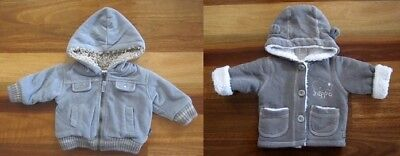 Two Baby Boy Size 000 (0-3 Mths) Thick Hooded Blue & Grey Jackets: Pumpkin Patch