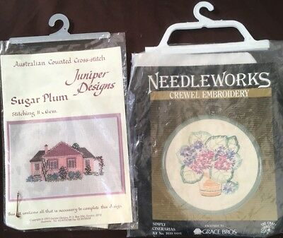 2x Needlepoint Kits - Cross Stitch & Crewel Embroidery