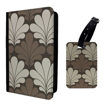 Art Deco Graphic Floral Pastel Luggage Tag &/OR Passport Holder - T1963