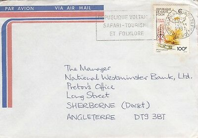 W 670 Upper Volta  May 1981 air cover UK; solo 100f stamp