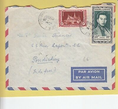 W 3001 Cambodia air 1953 cover to Pondicherry French India; 2 stamps