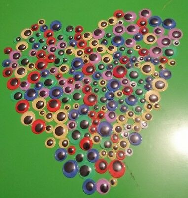 160 PK OF MULTICOLOUR GOOGLY EYES Wibbly Wobbly Assorted Colours  flat back