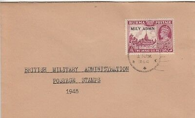 W 3226 Burma Military Administration stamp on 1945 cover;  2a 6p rate, Rangoon