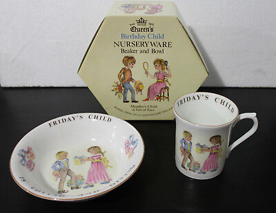 Queen's China Friday's Child Birthday  Cup And Bowl In Box Staffordshire Rosina