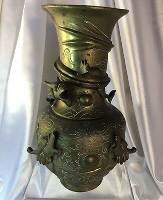 Old Chinese Bronze Sculpture  Dragon Vase.signed heavy excellent condition