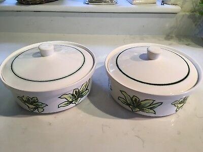 Vintage Royal Worcester Palissy Orchid pair of tureens 1960s-70s