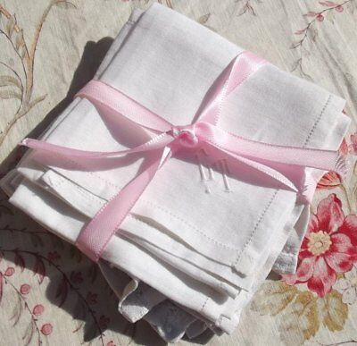 Pretty Vintage French White Linen Fabric Square Handkerchief Hand worked Monogra