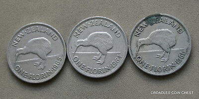 Group Of 3 New Zealand Florins Circulated Predecimal Coins   #uym90