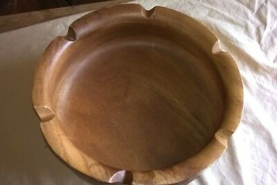"Large Decorative Maple Bowl 14"" Dia Scalloped  Rim Vintage Hand Turned Solid"