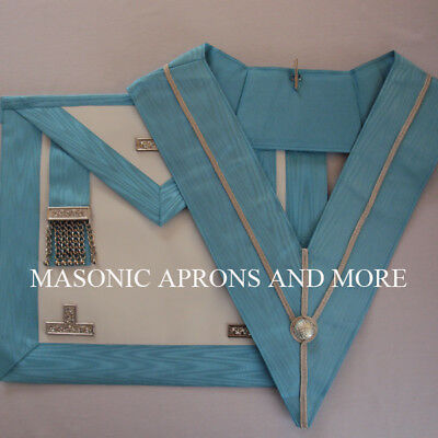 Masonic Craft Worshipful Master (WM) Apron (Lambskin) and Collar Set