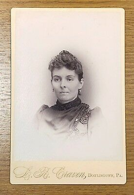 Antique Cabinet Card Photo Craven Doylestown PA Young Woman Ear Rings