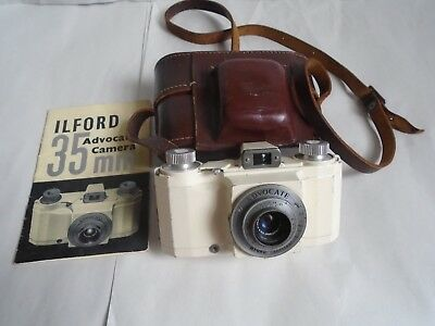 Vintager Cased Ilford Advocate White Enamelled 35mm Camera Diameyer Lens