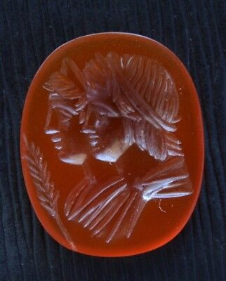Great Carnelian stone of Apollo with Artemis in style of antiquity handwork.