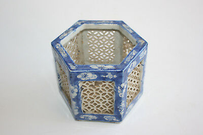 Antique Chinese Porcelain Blue and White Small Hexagon Pot Holder
