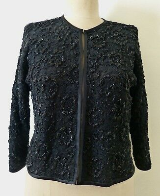 VINTAGE 1960s HAND SEWN BEADED LACE EVENING JACKET FABULOUS