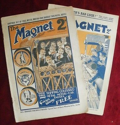 2 x THE MAGNET BOYS COMIC MAGAZINE FROM 1929 and 1932. NO.1095 and 1277.