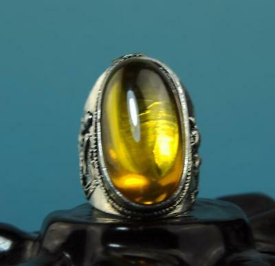 Collect China hand-made silver inlay zircon carve longfeng ring a01