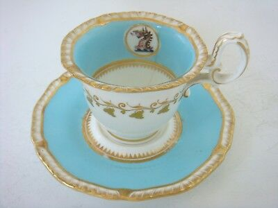 H & R Daniel Porcelain Very Rare Armorial Coffee Cup & Saucer Turquoise C1825