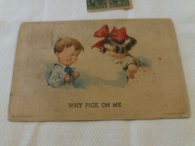 LOVELY antique POSTCARD, C H TWELVETREES, CHILDREN, 'Why Pick on Me', posted