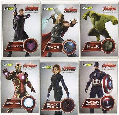 "Subway "" Marvel Avengers , Age Of Ultron "" 6 Card Promo   Collector Card Set"