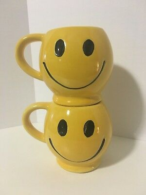 Pair of McCoy Smiley Face Mugs, Vintage, Pottery, Yellow, USA, Coffee Cup
