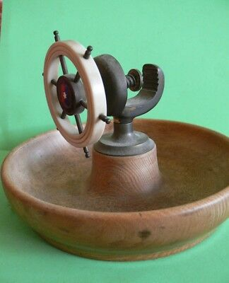 A SS Largs Bay Ships Wheel, Wooden Vice Style Nut Cracker.