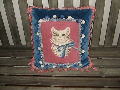Adorable Designer Pillow Featuring A Kitten In /Pinks & Navy