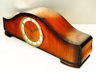Art Deco Westminster  Chiming Mantel Clock Junghans  With Pendulum