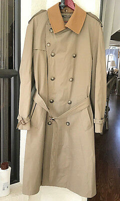 Brooks Brothers Khaki Coat Trench Belted  Removable Wool Collar Mens VTG 40L
