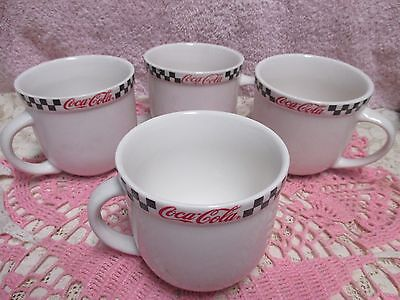 Gibson Coca-Cola Race Day Mugs Cups Set of 4 Checkerboard Border 2002