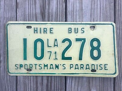 1971 Louisiana Bus License Plate - Very Good Condition