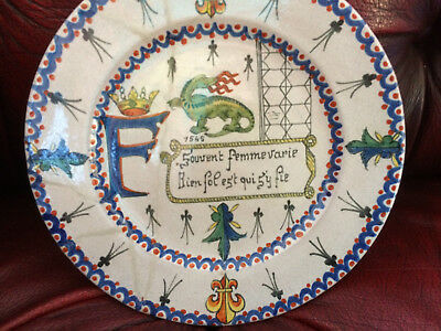 """Old French Faience Plate Approx 7"""" Handpainted  Bazin Chambord"""