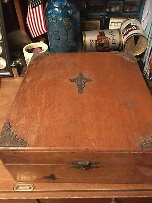 Antique Early Religious Holy Water Catholic Bible Box 19th C Brass Accents Wood