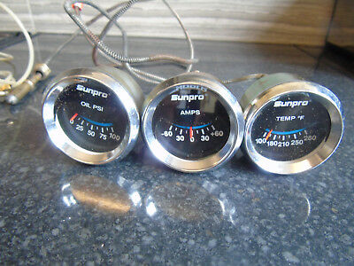 Sunpro Set of 3 Gauges Oil Amps & Temp With Pipe and Electrobe Car Motorcycle