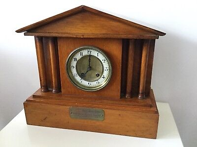 Antique Mantle Clock Vintage Steam Engine Makers Society Strikes