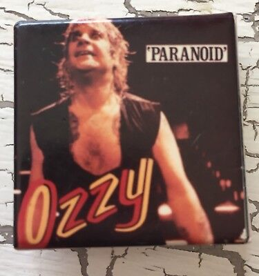 OZZY OSBOURNE PARANOID Pinback Button Square Canada Free Shipping Can Usa