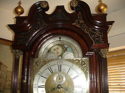 18th  CENTURY MAHOGANY BRASS DIAL MOONROLLER 8 DAY  LONGCASE CLOCK (UTUBE VIDEO)