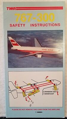 Trans World Airlines Twa - Safety Card - 767-300 Pn4952 6-94