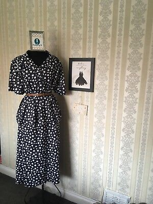 Plus Size Vintage Dress Two Piece Skirt Top Navy