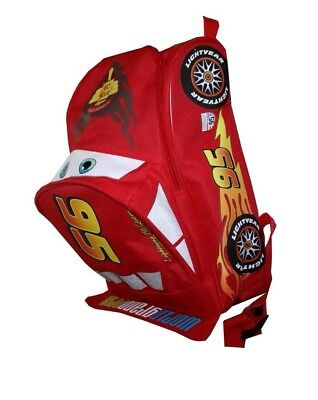 Disney Lightning McQueen Cars Shaped 12 Inch Toddler Kids Red Backpack .
