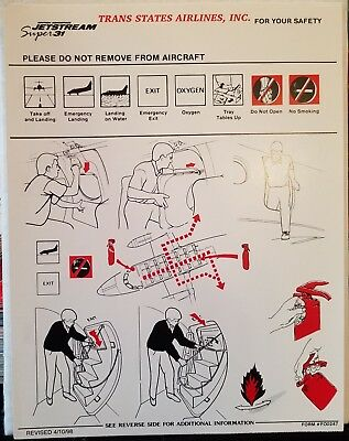 Trans States Airlines - Safety Card - Bae-31 - Fa0247 - Rev. 4-10-98
