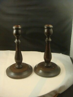 Classic Vintage Wooden Candlesticks As You Would See In Typical Welsh Farmhouse