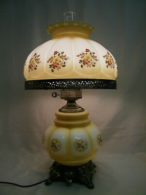 """26""""  Vintage Hurricane GWTW Glass Parlor Table Desk Lamp Light with Flower"""